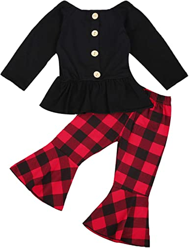 Kid/'s Girls Baby Outfits Bowknot Long Tops Dress Striped Pants Legging Clothes