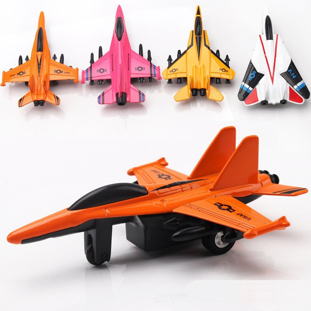 YIJIAOYUN 4.5' Metal Die Cast Plane Toy Pull Back Airplane Pack of 4