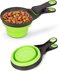 DHAWS Silicone Measuring Cups for Pet Dog and Cat,3 in 1 Collapsible Sealing Clip for Storage Bag,Pet food Spoon 1/2 Cup/1 Cup/2 Cup Capacity (118ml/237ml/473ml) (Green, 1/2Cup (118 ml))