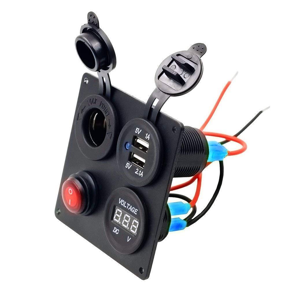 LED Voltmetro Presa Auto 12V Quattro Foro Pannello con ON-OFF Interruttore Tasto per Barca Moto Accendisigari TurnRaise Dual USB Caricatore Switch Panel