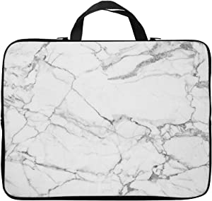 Britimes Laptop Case 14 15 15.6 inch, White Marble Texture Decor Horizontal Bright Painting Natural Neoprene PC Computer Sleeve Waterproof Notebook Handle Carrying Bag