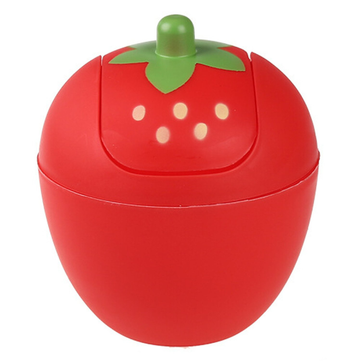 Cute Mini Waste Bins, Manafun Strawberry Desk Trash Can Roll Cover Wastebasket, Food Organizer for Office, Room, Desk, Bathroom (Red)