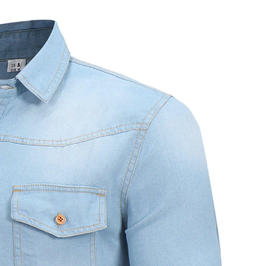 Vska Mens Casual Denim Shirt Long Sleeve Button Down Shirt British Style