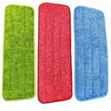 M-Aimee Mop Microfiber Cleaning Pads for Spray Mops and Reveal Mops Washable 16.5 x 5.5 Inch, 3 Pieces