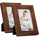 RPJC 3.5x5 Picture Frames (Set of 2) Made of Solid Wood High Definition Glass for Table Top Display and Wall Mounting…