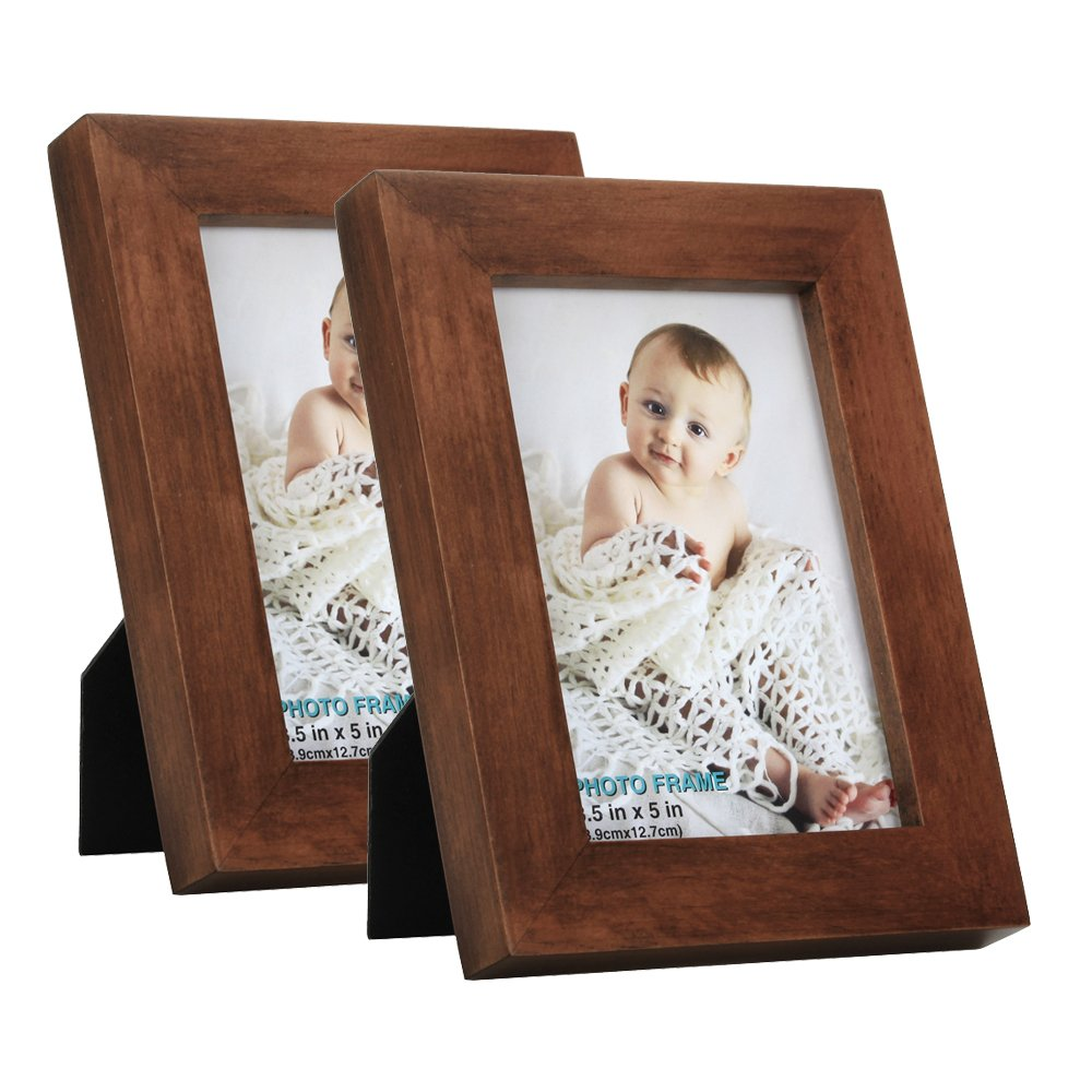 RPJC 3.5x5 Picture Frames (Set of 2) Made of Solid Wood High Definition Glass for Table Top Display and Wall Mounting Photo Frame Brown by RPJC