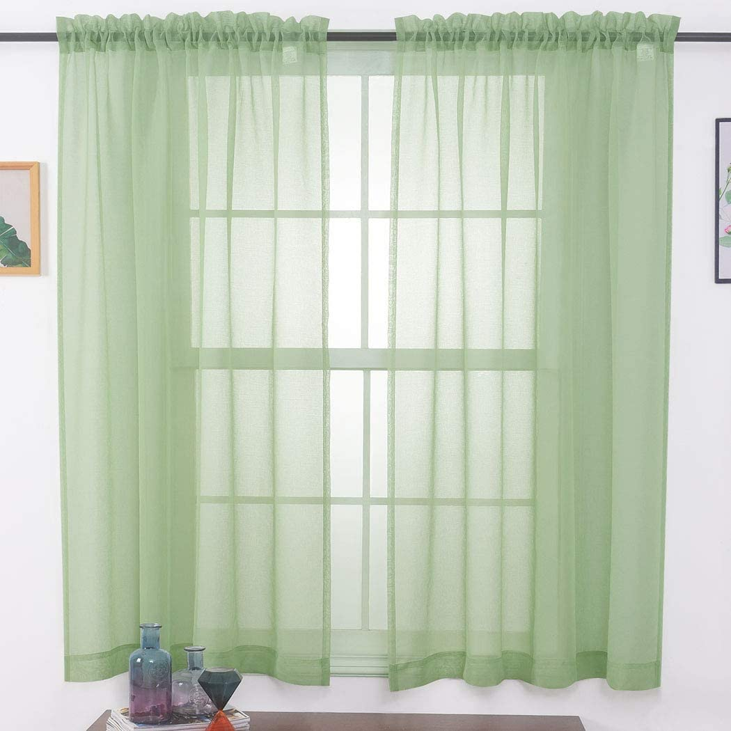 "MYSTIC-HOME Sheer Curtains Sage Green 63 Inch Length, Rod Pocket Voile Drapes for Living Room, Bedroom, Window Treatments Semi Crinkle Curtain Panels for Yard, Villa, Parlor, Set of 2, 52""x 63"""