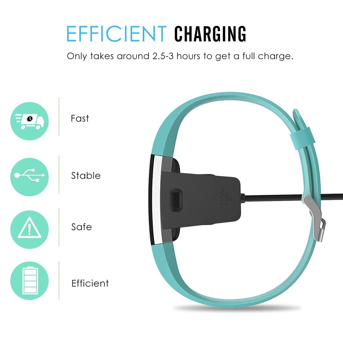 Fypo Charge Cable Bundle for Fitbit Charge 2,Replacement USB Charger Charging Cable Cradle Dock Adapter, 2 Pack 20 and 47 inch Black
