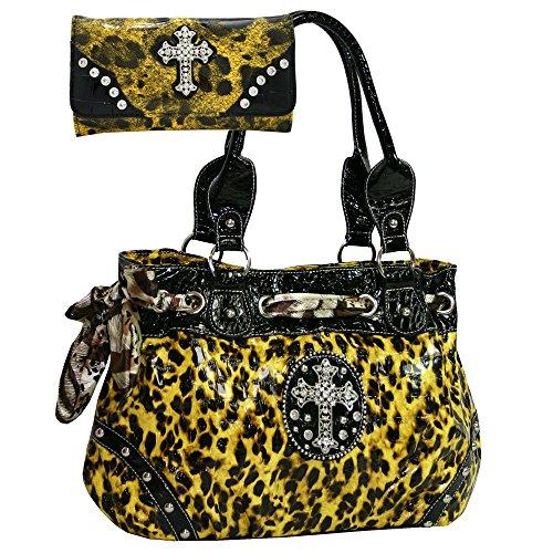 Western Rhinestone Studded Leopard Print Purse Cross Accent Handbag With bonus Wallet - Yellow Leopard