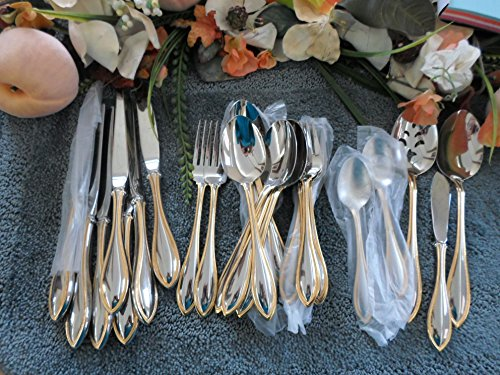 Gold Accent AMERICAN HARMONY ARBOR Vintage Oneida 18/8 USA Stainless 27pcs Nice Odd Lot Excellent ()
