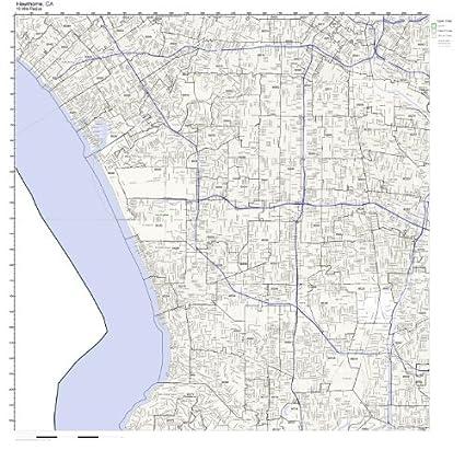 Hawthorne California Map.Amazon Com Hawthorne Ca Zip Code Map Laminated Home Kitchen
