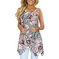 TOPUNDER Irregular Printing T-Shirt Sleeveless Blouse Loose Tunic Tank Tops for Women