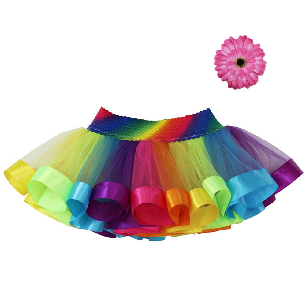 MOLFROA Baby Girls Colorful Layered Dance Outdoor Rainbow Tutu Skirt 3T/4T