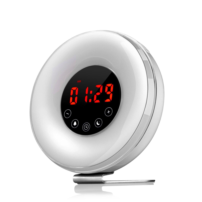 eJiasu Simulation Sunrise Alarm Clock Wake Up Light Sunset Simulator Alarm Clock Touch Control Bedside Lamp with 6 Nature Sounds, FM Radio and Snooze Function (White) E556B