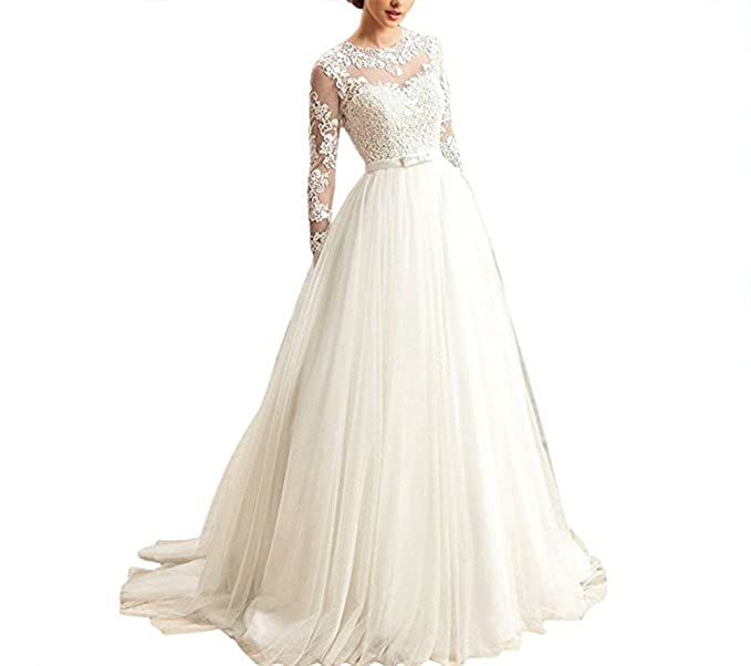Fishlove Long Sleeve Lace Vestido De Novia Vintage Sheer ...