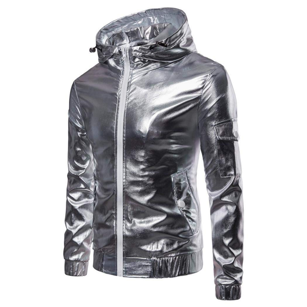 iLH Mens Luxury PU Leather Jacket Autumn Casual Hip Hop Tops Solid Long Sleeve Hooded Coat Sweatshirt