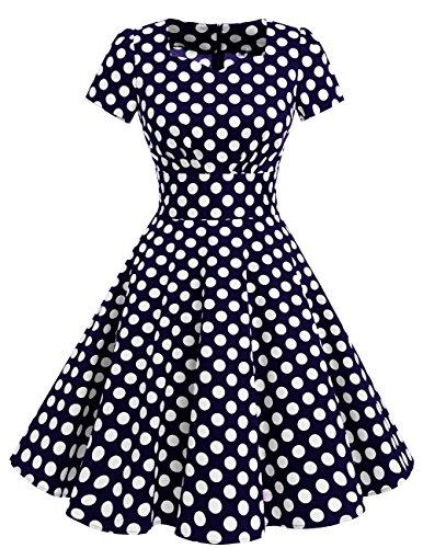 De Corto Navy Corta White Vintage Dot Mujer 1950 Manga con Estilo DresstellsVestido Ua6qxn4wWC