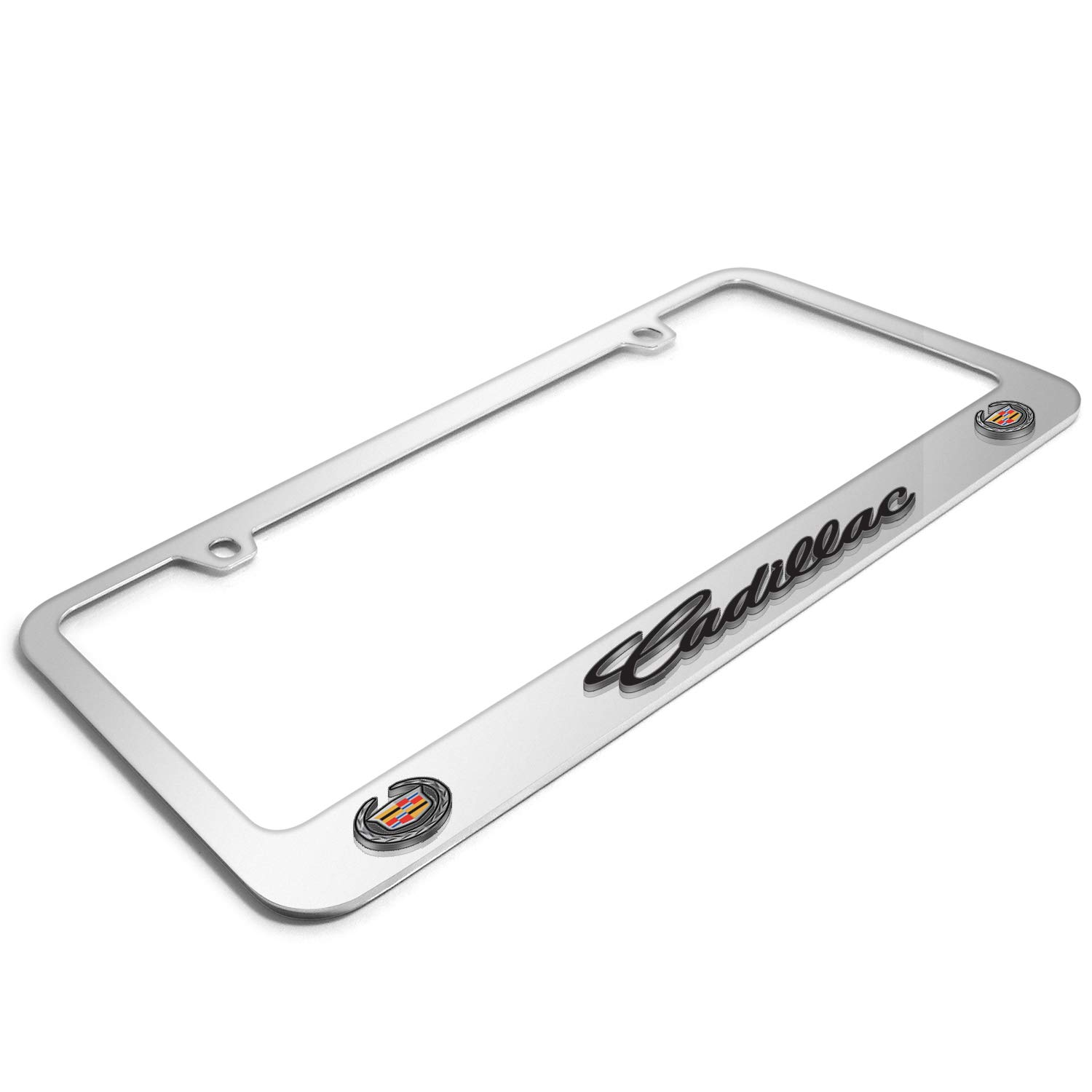 iPick Image Cadillac 3D Embossed Dual Logo Mirror Chrome Metal License Plate Frame