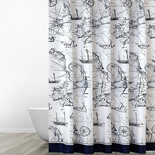 Eforgift Sea Theme Nautical Print Polyester Fabric Shower Curtains Water Repellent Bathroom Curtain No More Mildews With Hooks Washable Navy Blue