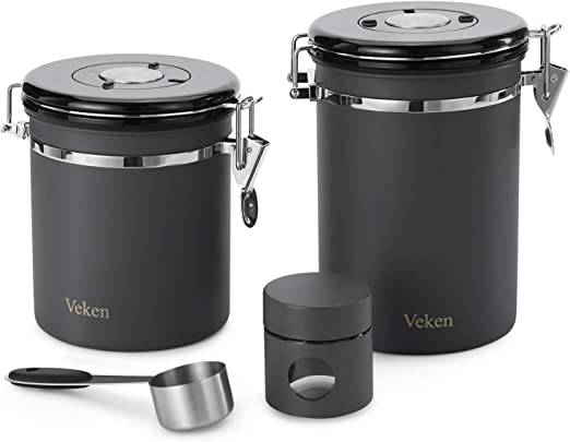 Veken Coffee Canister, 2 Piece Airtight Stainless Steel Coffee Container with Date-Tracker, Measuring Scoop, One Way Co2 Valve & Travel Jar, 22oz+16oz+1.1oz, Grey