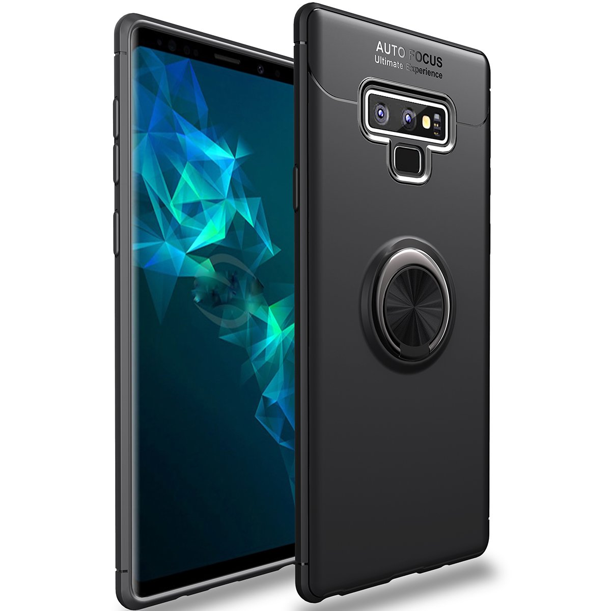 Galaxy Note 9 Case,WATACHE Slim Fit Heavy Duty Soft TPU Case with Metal Finger Ring Grip Holder Kickstand [Support Magnetic Car Mount] for Galaxy Note 9(Black)