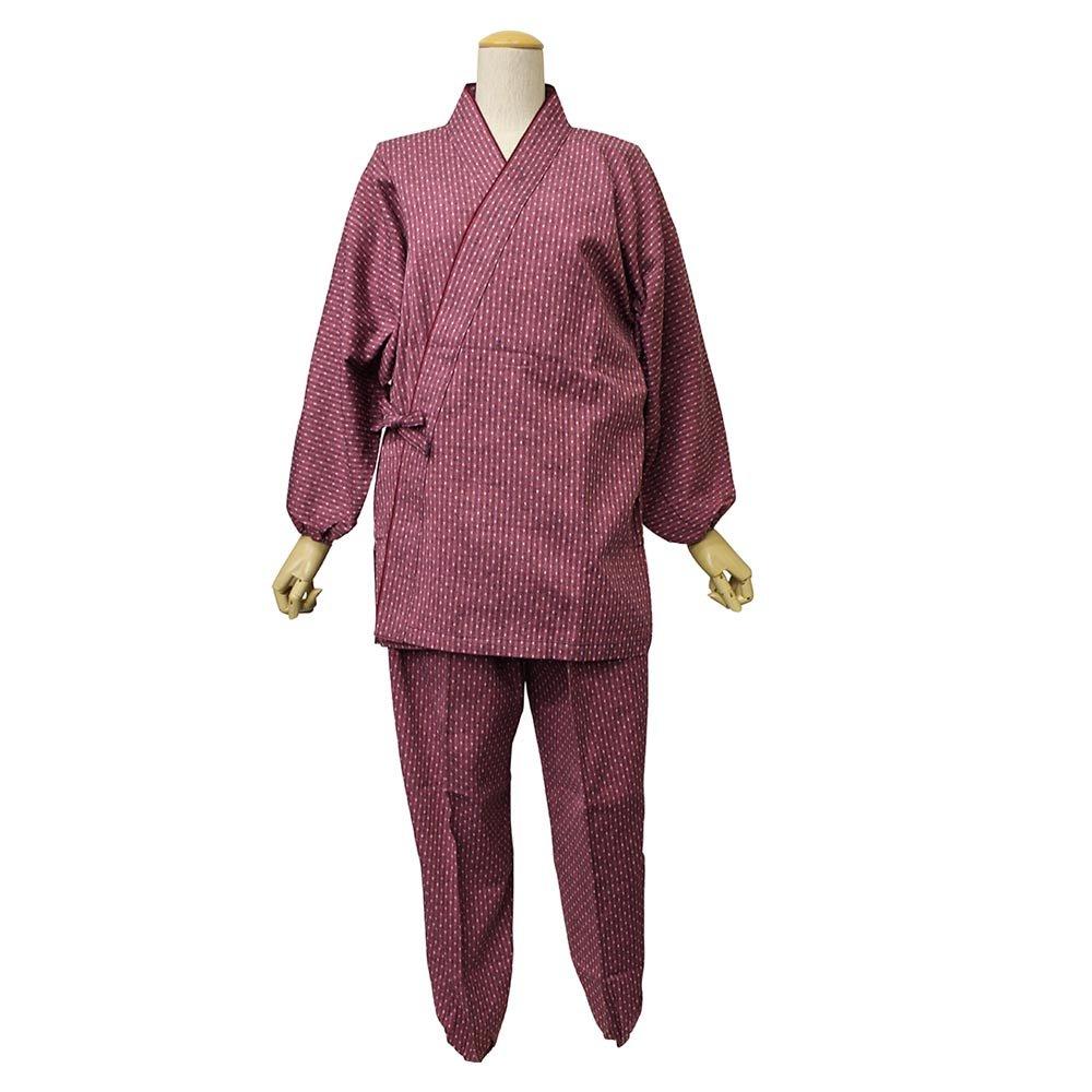 作務衣 女性 久留米織 婦人 レディース 日本製 (M~Lサイズ , 【A2】矢絣×ピンク) B01E88BAAI LLサイズ|【B4】点々×ピンク 【B4】点々×ピンク LLサイズ