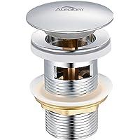 Auralum - Tapones de Desagüe Lavabo Pop-Up Universal Válvula Desagüe Cromado con Rebosadero Desagüe Clic-Clac con…