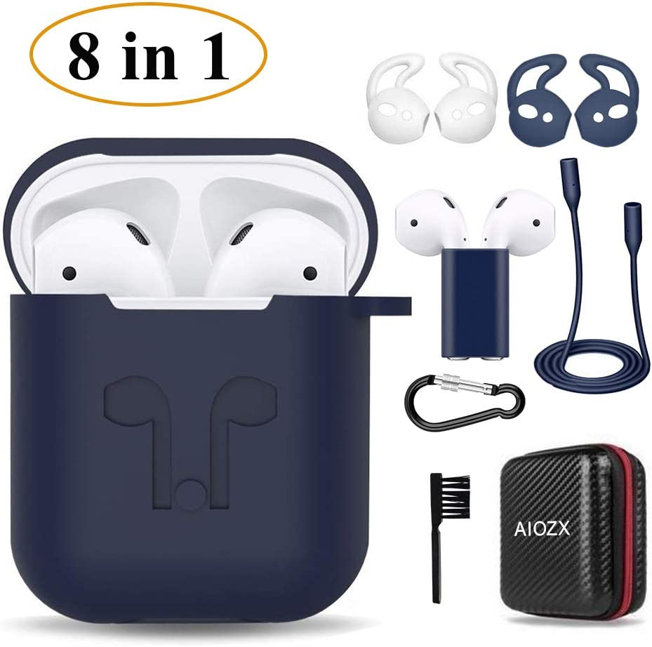 Case for Airpods, Silicone AirPods 2 & 1 Accessories Set Protective Cover, Skin for AirPods Charging Case, Airpods Strap/Airpods Ear Hooks/Holder/Keychain/Carrying Box(Blue)