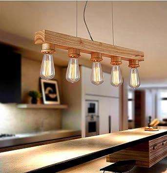 Modern Deckenlampe Vintage Holz Kronleuchter E27 Edison Massivholz Kronleuchter  Schlafzimmer Wohnzimmer Holz Pendel Lampe Coffee Shop