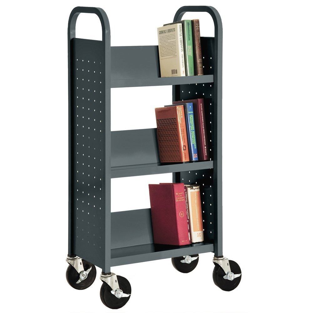 Sandusky SL33017-02 Charcoal Heavy Duty Welded Steel Single Sided Sloped Shelf Book Truck, 3 shelves, 46'' Height x 18'' Width x 14'' Depth