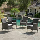 Great Deal Furniture Clementine Outdoor Wicker Dining Chairs (Set of 4) For Sale