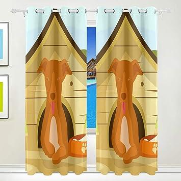 CUMIMI Mumimi - Cortinas térmicas con Estampado de Perro en casa, Opacas, para Dormitorio, Sala de Estar, 137,16 x 213,36 cm, 2 Paneles: Amazon.es: Hogar