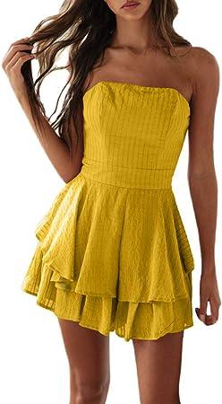 LeeMon - Vestido de Mujer de un Solo Color, con tobogán de Patinaje y Espalda Descubierta, Plisado