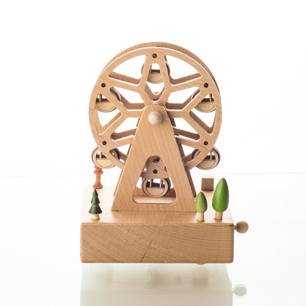 Wooden Music Box Valentine's Day Birthday Gift Travel Gift,Smart Toy Present for Lover Friends and Children Souvenir-Plays Castle in The Sky Song