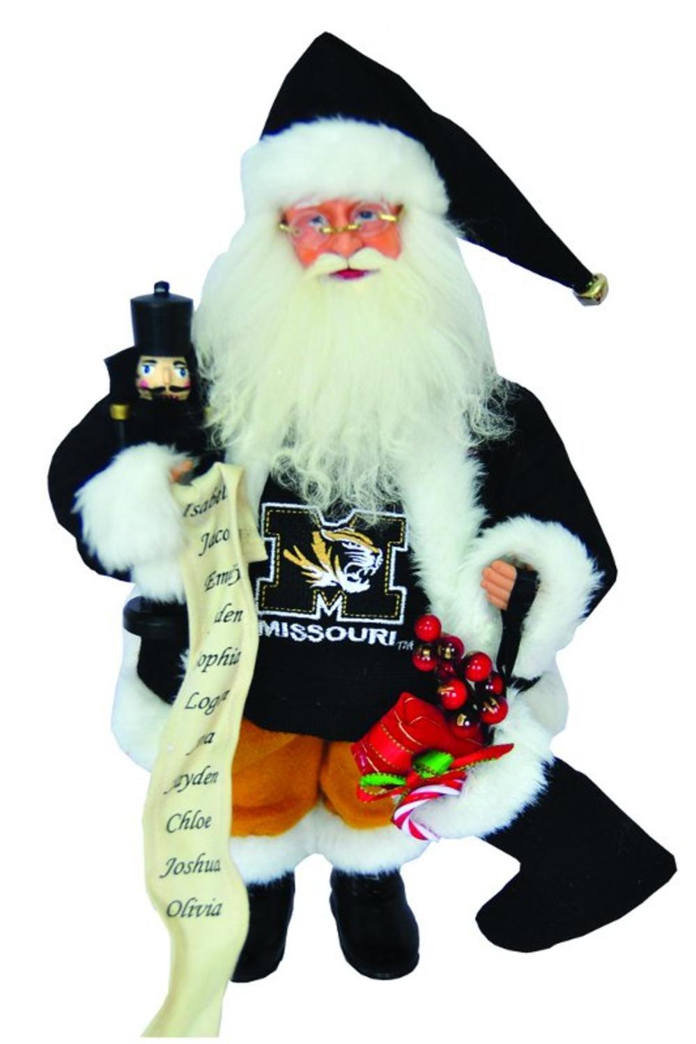15'' NCAA Missouri Tigers Santa Claus Christmas Figure with Nutcracker & Stocking