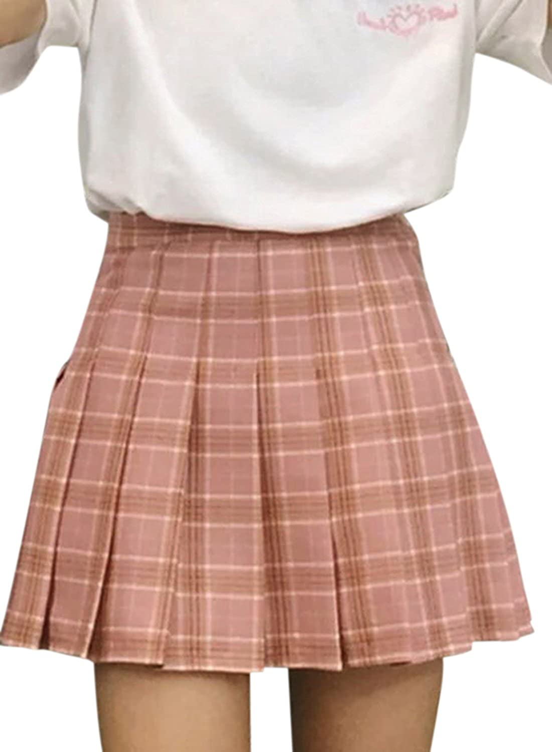 ACHICGIRL Women's Fashion Plaid Pattern Pleated Mini Skirt