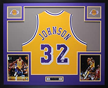 4fd5d3be7a68 Magic Johnson Autographed Yellow Lakers Jersey - Beautifully Matted and  Framed - Hand Signed By Magic