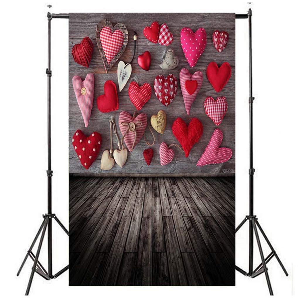Fanteecy 4.9X 2.96フィート バレンタインデー 写真背景 ラブハート 木製フロア写真背景ボード 新生児フォトカーテン スタジオフォトブース小道具 Fante8121212C20  Multicolor C B07LBMFFB5