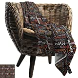 """ZSUO Camping Blanket 60""""x62"""" Inch Coffee,Colorful Typography Collection Vertical Horizontal Words Caffeine Aroma"""