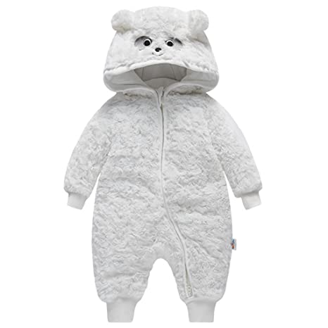 Traje de Nieve Bebé Ropa de Invierno Mameluco con Capucha Fleece Peleles Monos Manga Larga,