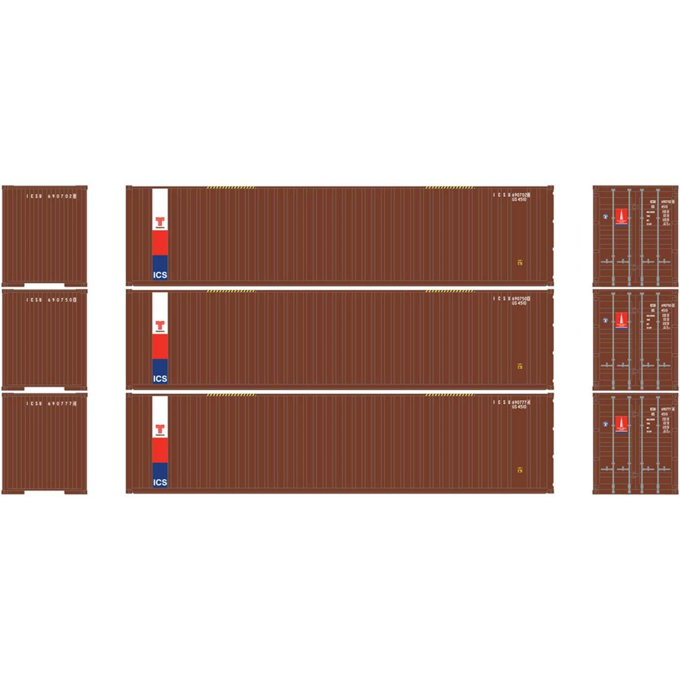 HO RTR 40フィート リブコンテナ フラットパネルトランザム付き (3)   B07687VFMB