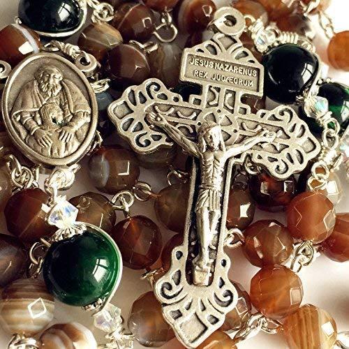 elegantmedical Handmade Rosary Green Tiger Eye & Natural Agate Beads Catholic 5 Decade Rosary Necklace Cross & Gift Box ()