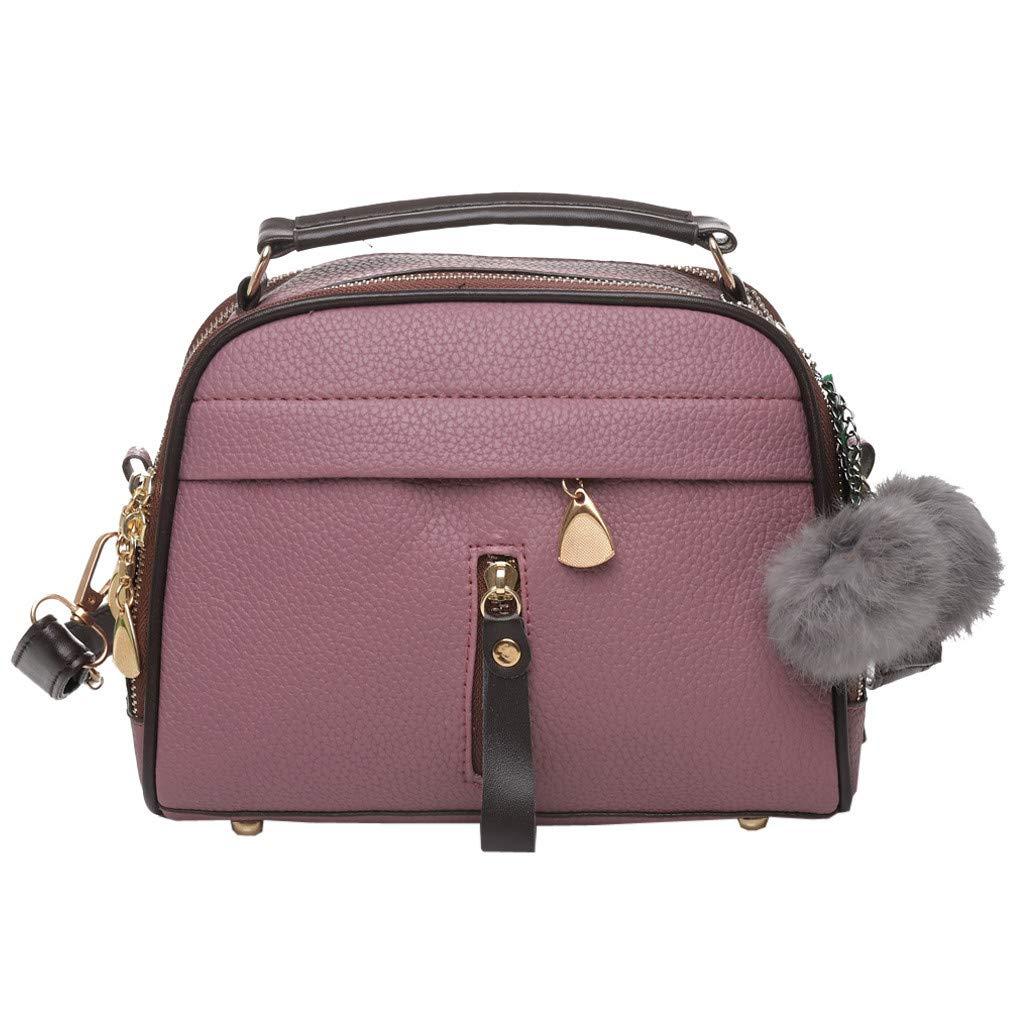 CHLZYD Messenger Bag Women Solid Color Crossbody Bag Hairball Hand Bag Shoulder Bag Messenger Bag