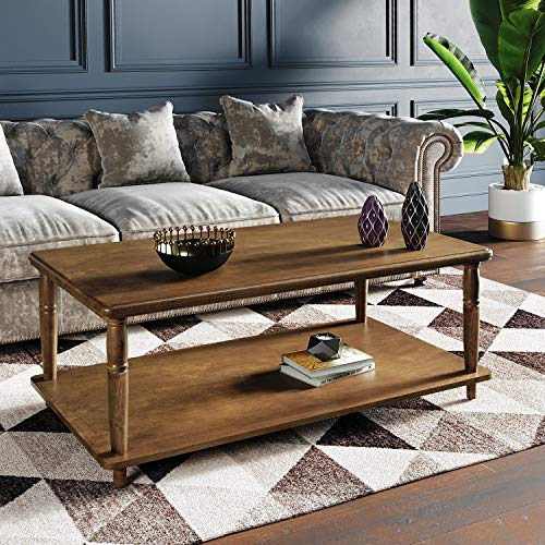 VASAGLE Coffee Table with Solid Wood Legs, Roman Columns Style, Traditional Cocktail Table with Storage Shelf, Assembly without Tools, for Living Room Office, Wood Grain Walnut ULCT04CB