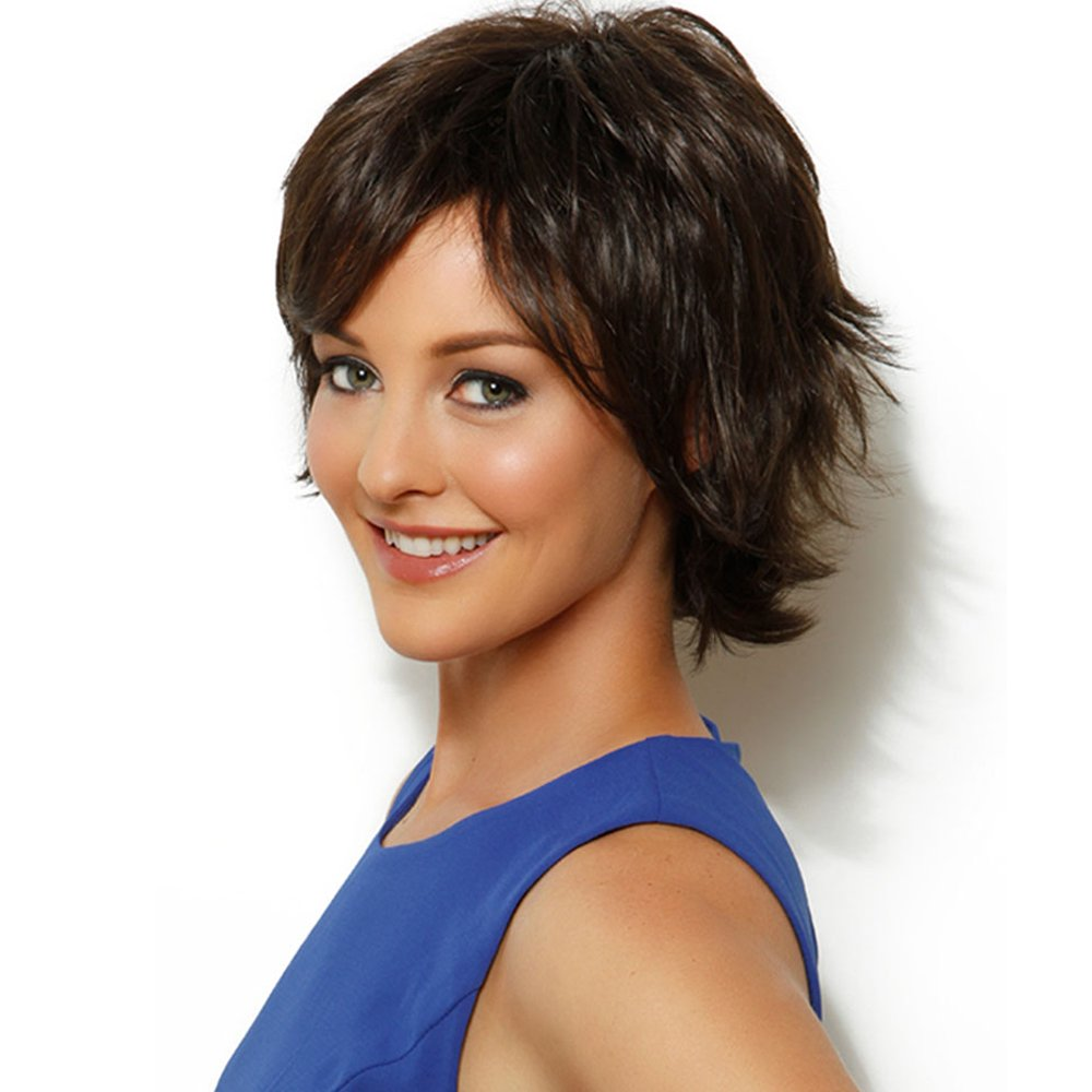 HAIRCUBE Short Charming Wigs for Women Human Hair with Combs Inside Natural Looking