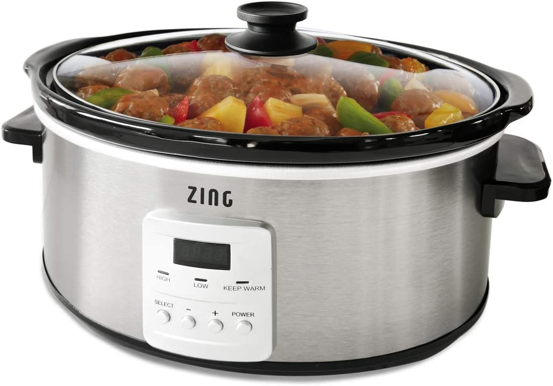 Zing 7 Qt Programmable Slow Cooker with Timer, Oval, Stainless Steel