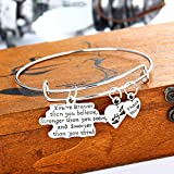 You're Braver Than You Believe Message Life Adjustable Wire Bangle Bracelet