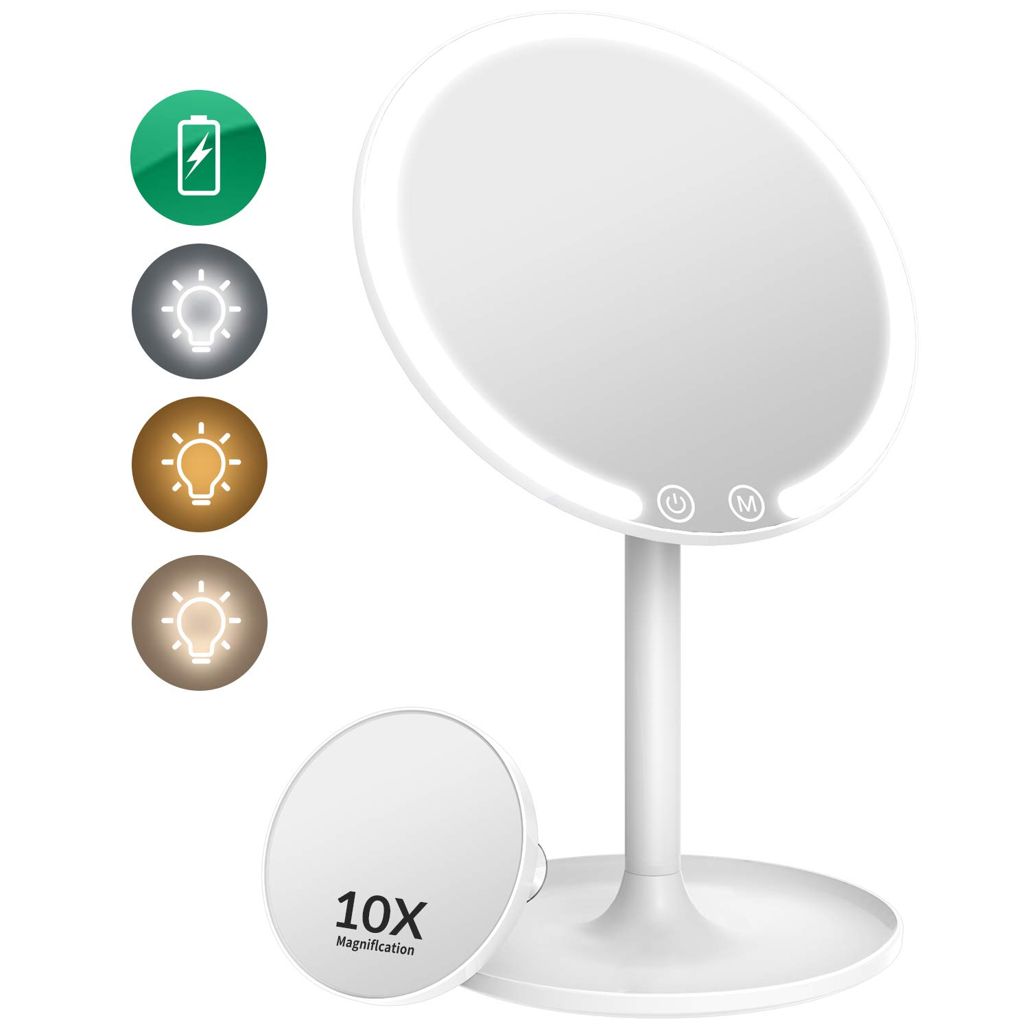 EASEHOLD Lighted Makeup Mirror, Rechargeable 1X/10X Magnifying Vanity Mirror with 42 LED Lights, Light Up Mirror for…