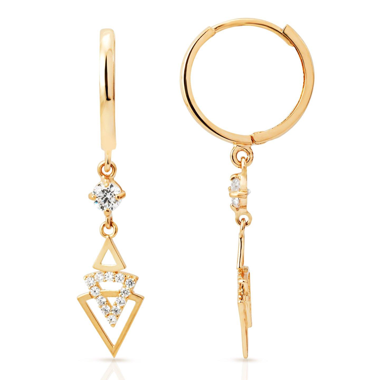 Geometric Triangle CZ Dangling Earrings in 14K Yellow Gold