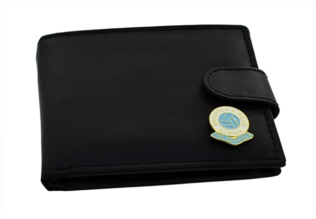 GIFTSEARCH Brighton and Hove Albion FC 'The Seagulls' Football Club Genuine Black Leather Wallet